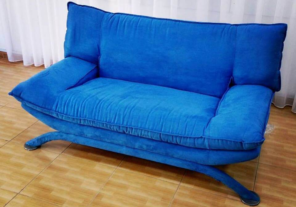 Custom Reupholstery Bright Blue Sofa